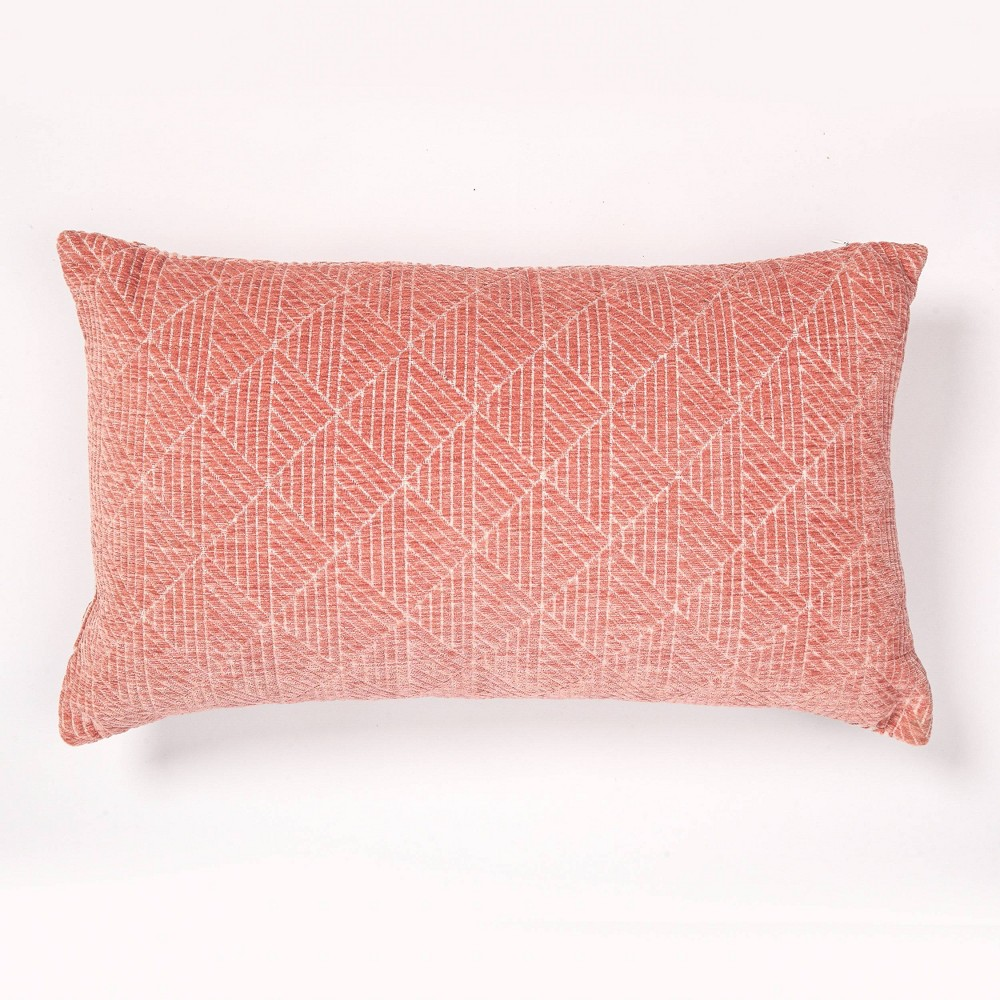"Image of ""14""""x24"""" Geometric Chenille Woven Jacquard Throw Pillow Spanish Villa - Freshmint"""