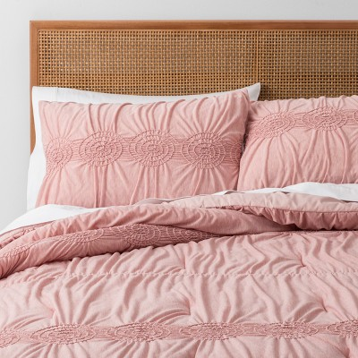 Blush Solid Ruched Jersey Duvet Cover Set (Full/Queen)- Opalhouse™
