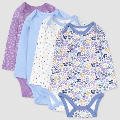 Honest Baby Girls' 4pk Organic Cotton Prairie Pretty Long Sleeve Bodysuit - Purple/Blue/White Newborn