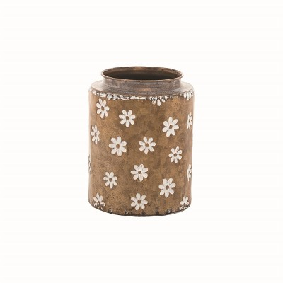 Rustic Whitewashed Floral Galvanized Brass Metal Decorative Vase - Foreside Home & Garden