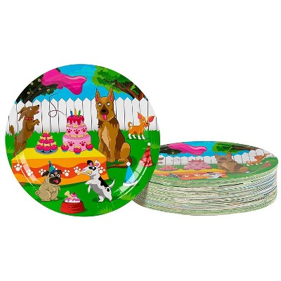 Blue Panda Disposable Plates - 80-Count Paper Plates, Puppy Party Supplies, Kids Birthdays, 9 x 9 inches