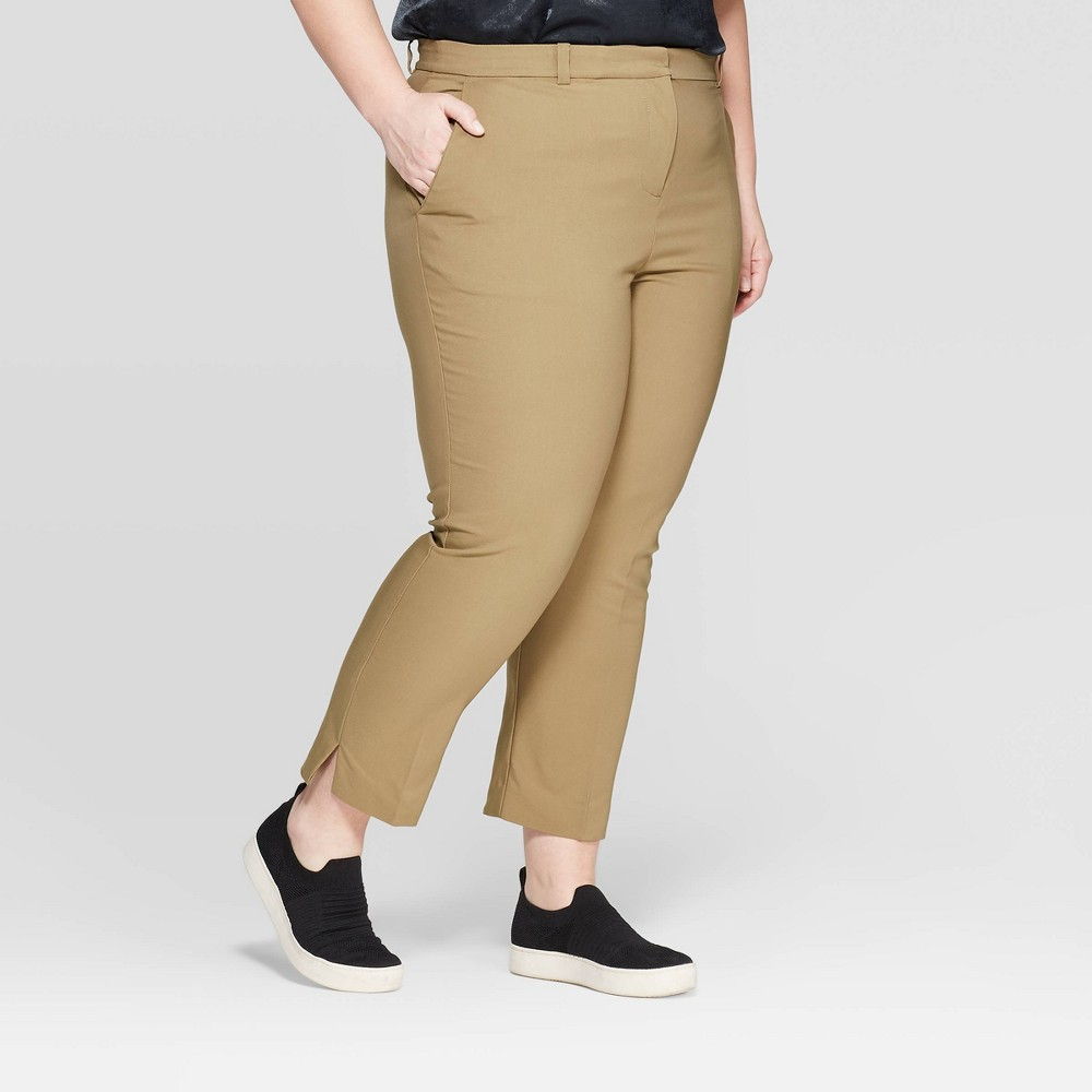 Women's Plus Size Mid-Rise Ankle Length Skinny Fashion Pants - Prologue Olive (Green) 16W