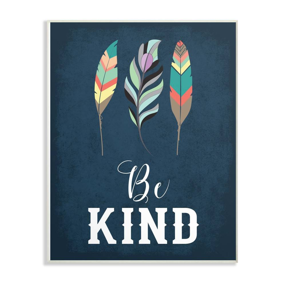 "Image of ""10""""x0.5""""x15"""" Be Kind Blue Feathers Wall Plaque Art - Stupell Industries, Blue White"""