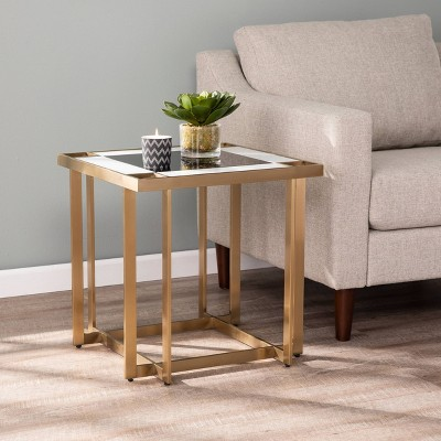 Magdoll Contemporary Mirroed End Table Gold - Aiden Lane
