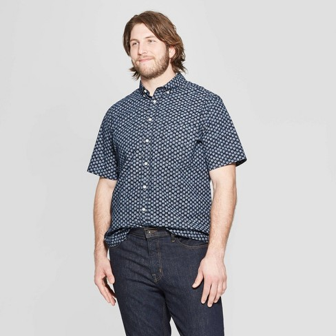 Men's Big & Tall Printed Standard Fit Short Sleeve Poplin Button-Down Shirt - Goodfellow & Co™ Federal Blue - image 1 of 3