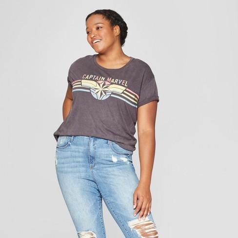 31a7f5db Women's Plus Size Captain Marvel Logo Short Sleeve Graphic T-Shirt  (Juniors') -Black