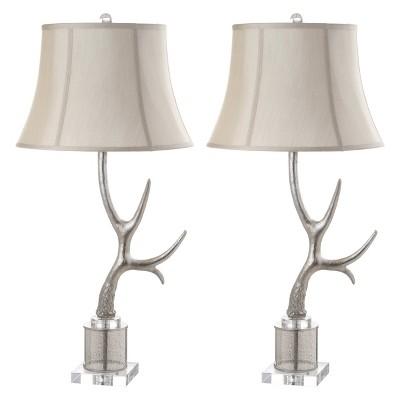 "(Set of 2) 32.5"" Adele Antler Table Lamp Silver (Includes LED Light Bulb) - Safavieh"