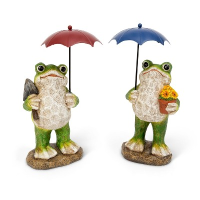 """GIL S/2 10.6""""H Resin Frog Figurines with Metal Umbrellas"""