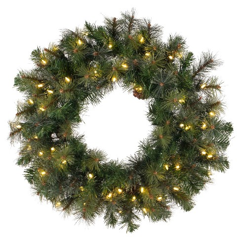 "30"" Pre-Lit Christmas Modesto Mix Wreath - White LED Lights - image 1 of 1"