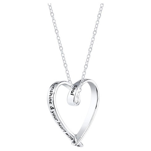 "Women's Sterling Silver Friends fill your life heart Necklace - Silver(18.5"") - image 1 of 2"