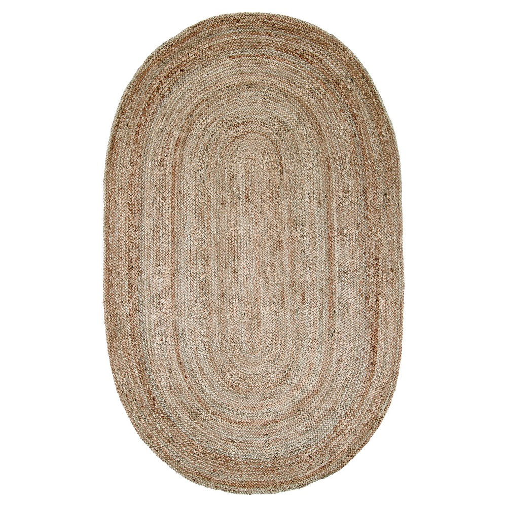 "Image of ""2'3""""x4' Oval Solid Woven Rigo Jute Accent Rug Natural - nuLOOM"""