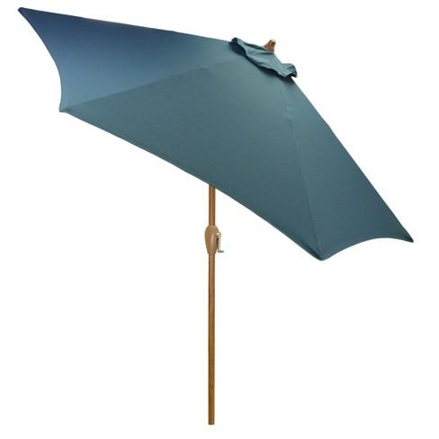 9' Round Patio Umbrella Medium Blue - Medium Wood Pole - Threshold™ - image 1 of 1