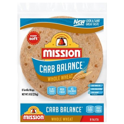 Mission Carb Balance Fajita Size Whole Wheat Flour Tortillas - 8oz/8ct