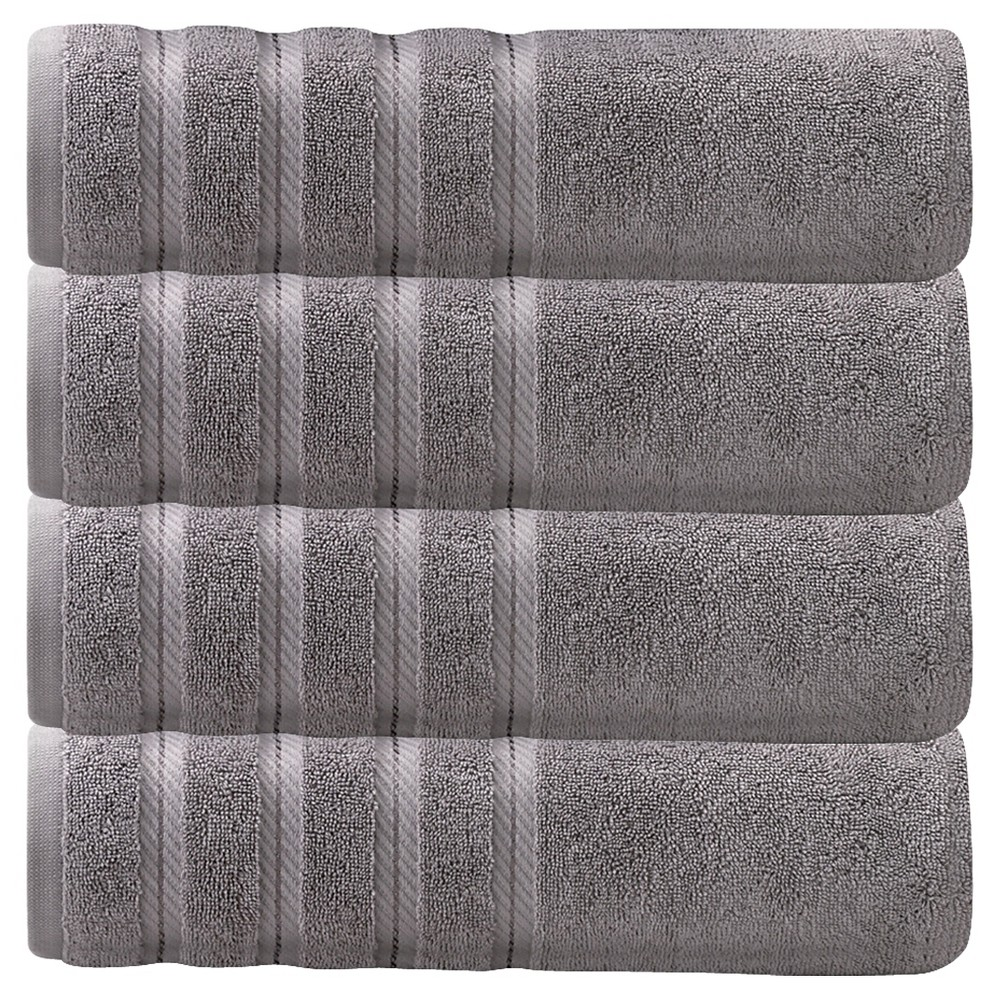 Image of 4pc Antalya Turkish Bath Towels Set Gray - Makroteks