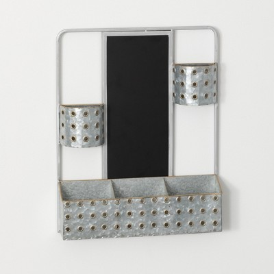 "Sullivans Metal Wall Storage Pocket Organizer with Chalkboard 20""H Silver"