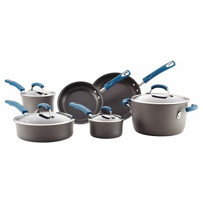 Rachael Ray Hard Anodized Nonstick 10 piece Cookware Set - Marine Blue Handles