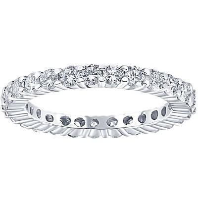 Pompeii3 1 1/2ct 14k White Gold Round Diamond Womens Eternity Anniversary Stackable Wedding Ring