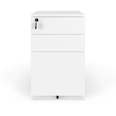 Basyx Mobile Wooden Pedestal Filing Cabinet White - HON