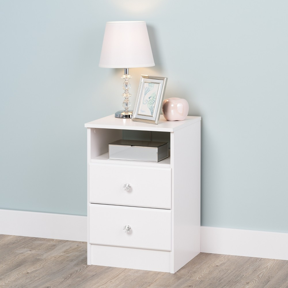Astrid 2 Drawer Nightstand with Crystal Knobs White - Prepac Coupons