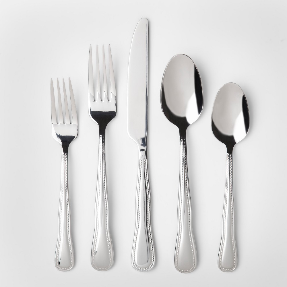 Image of 20pc Cloverhill Beaded Stainless Steel (Silver) Silverware Set - Threshold