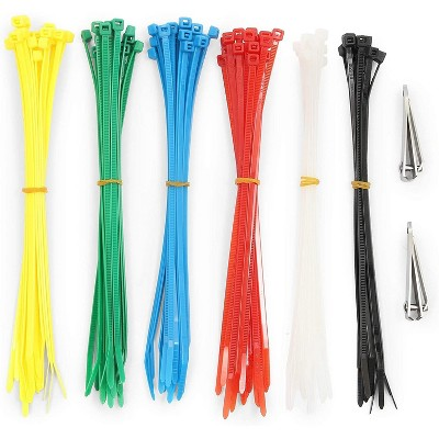 """100-Pack Zip Cable Ties 7.7"""" with Clippers, Strong Durable Nylon Colorful Ties for Cord Management Luggage"""