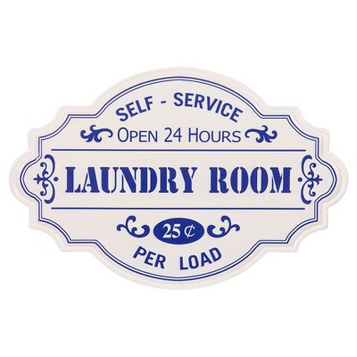 "16.25"" Hand Painted Laundry Room Tin Enamel Wall Sign Off White/Blue - Patton Wall Décor"