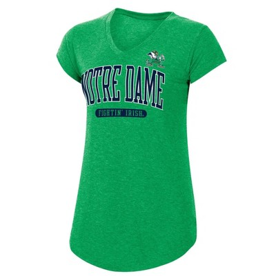 NCAA Notre Dame Fighting Irish Women's Short Sleeve V-Neck Green T-Shirt