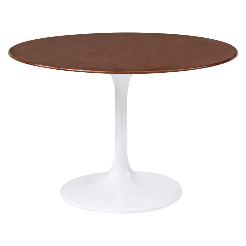 Flower Dining Table Wood Top 30 - Walnut (Brown) - Fine Mod Imports