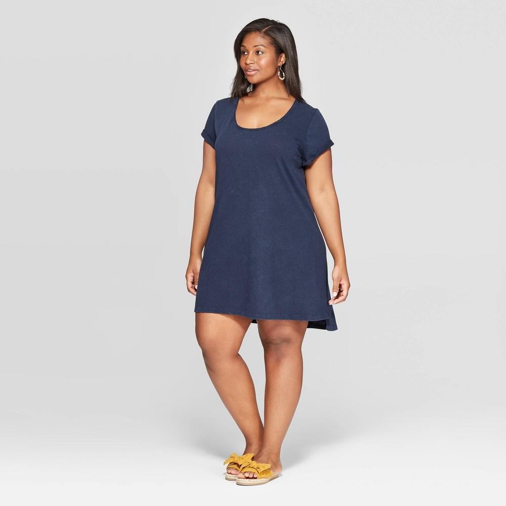 c80c61099d7 Womens Plus Size Short Cap Sleeve U Neck T Shirt Dress Universal Thread  Navy Blue 3X