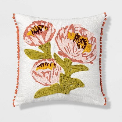 Square Embroidered Floral Pillow White/Coral/Green - Opalhouse™