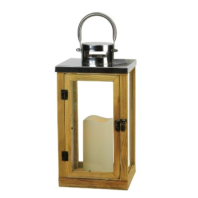 "Northlight 13.75"" Country Rustic Wood and Glass Lantern with LED Flameless Pillar Candle with Timer"