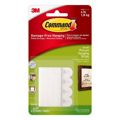 Command 4 Sets of Small Sized Picture Hanging Strips White