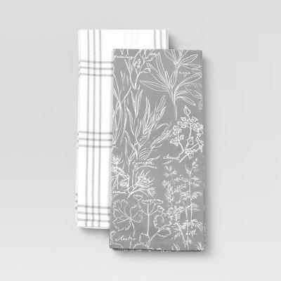 2pk Cotton Printed Kitchen Towels Gray - Threshold™