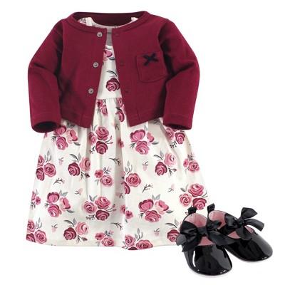 Hudson Baby Infant Girl Cotton Dress, Cardigan and Shoe 3pc Set, Rose