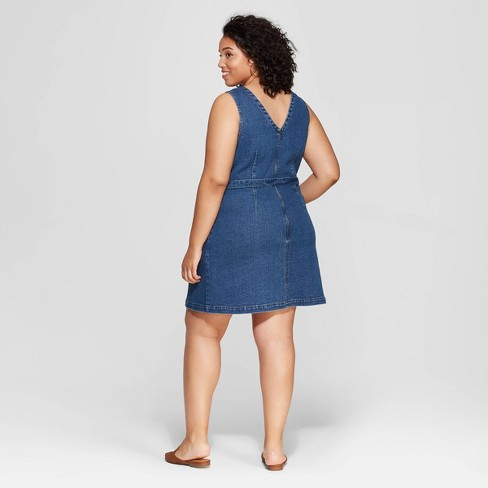 Women s Plus Size Sleeveless V-Neck Belted Denim Dress - Universal Thread™  Medium Blue 4X   Target 651d36c86