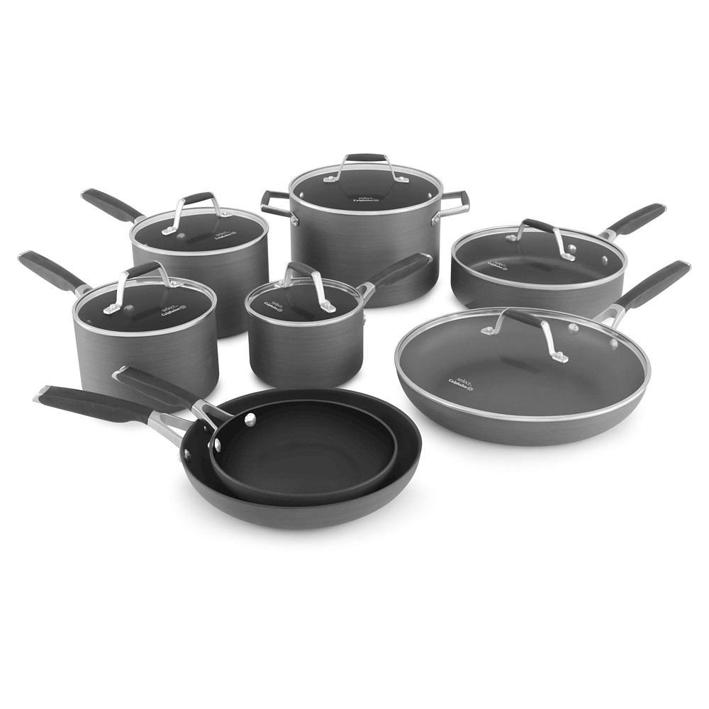 Select by Calphalon 14 Piece Hard-Anodized Non-stick Cookware Set, Black