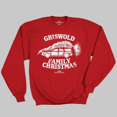 Men's National Lampoon Christmas Vacation Fleece Pullover Sweater   Red by Ripple Junction