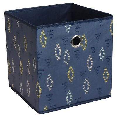 Fabric Cube Storage Bin 11  - Indigo Geo Pattern - Room Essentials™