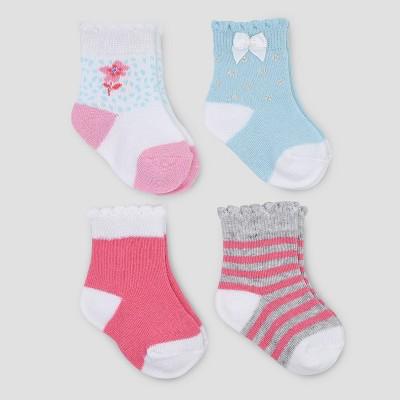 Baby Girls' 4pk Floral Crew Socks - Just One You® made by carter's Pink/Blue 0-3M