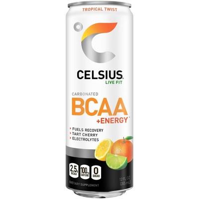 Celsius BCAA Tropical Twist Sparkling Energy Drink - 12 fl oz Can