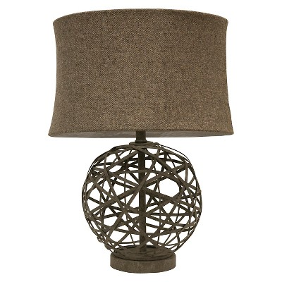 J. Hunt Strapped Steel Ball Lamp - Gray/Light Brown