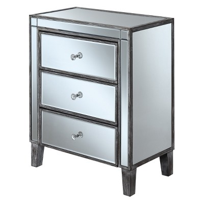 Gold Coast Large 3 Drawer Mirrored End Table Weathered Gray/Mirror - Breighton Home