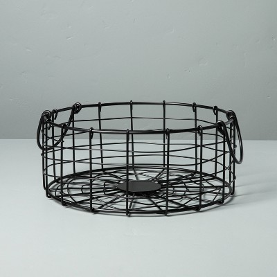 Small Round Wire Storage Basket with Handles Black - Hearth & Hand™ with Magnolia