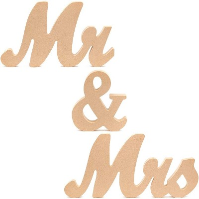 Bright Creations Unfinished Wood 5.9-Inch Mr & Mrs Sign Freestanding Letters for Wedding Table Decor