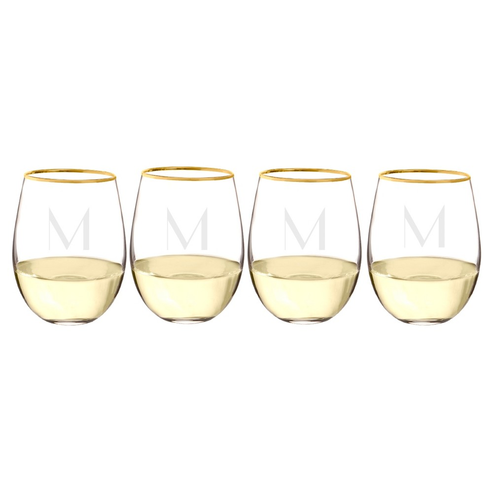 Cathy's Concepts 19.25oz Monogram Gold Rim Stemless Wine Glasses M - Set of 4, Clear Gold