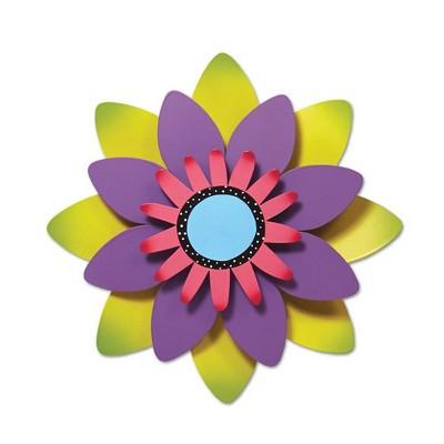 """Home & Garden 13.0"""" Green & Purple Flower Outdoor Kinetic Art Magnet Works Ltd.  -  Wind Spinners"""