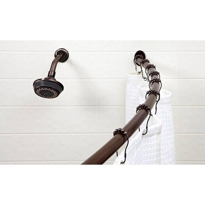Curved Wall Mountable Shower Rod Dark Brown - Bath Bliss