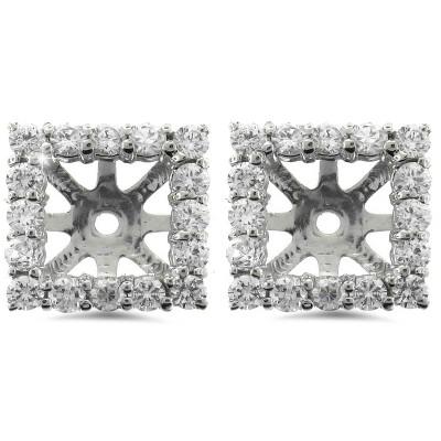 Pompeii3 1 1/4ct Princess Cut Diamond Halo Earring Jackets White Gold (5.5-6mm)