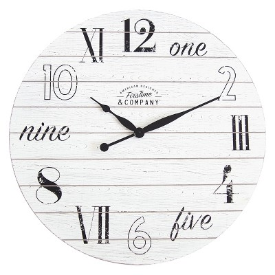 FirsTime Shiplap Chic Wall Clock White