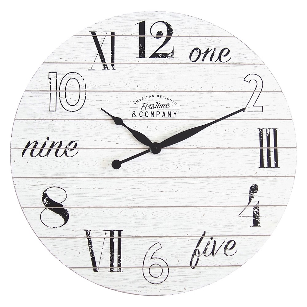 FirsTime Shiplap Chic Wall Clock White, Chalk White